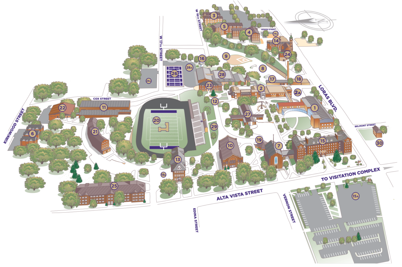 Kirkwood Community College Campus Map.Lc Campus Map Loras College